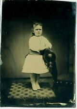 """Large Tintype- Girl Posing with Gold Cross and Chain-  5"""" x 7""""- Squinting!"""