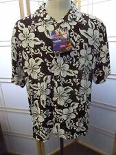 Men's Hawaiian Casual camp sz XL TIKI Palm Rayon Brown White Hibiscus floral