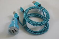 2x 3FT Blue braided USB Data Cable & USB Car Charger For Apple Iphone 5S 6S Plus