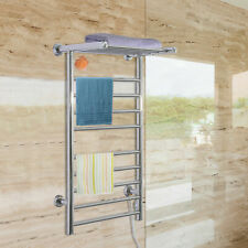 9 Bars Electric Heated Towel Warmer Wall Mounted Stainless Steel Dryer Top Rack