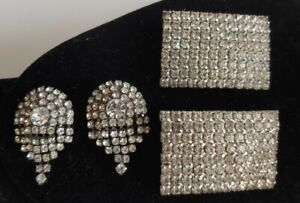 Vintage Lot of TWO Pairs MUSI Shoe Clips  Rhinestone and Rectangle w/Rhinestones
