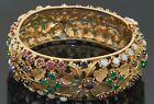 Vintage heavy jumbo 14K gold opal ruby chalcedony flower bangle bracelet