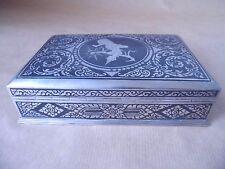 BEAUTIFUL THAI STERLING SILVER & NIELLO ENAMEL CIGARETTE / JEWELLERY BOX