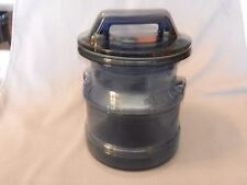 """Blue Glass Canister with Lid Milk Pail Design 7.5"""" Tall"""