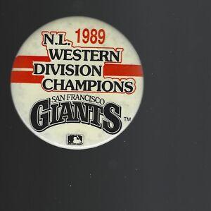1989 San Francisco Giants National League West Champions 3-Inch Pinback Button