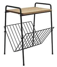 Vintage retro wood metal side table magazine rack holder living room storage New