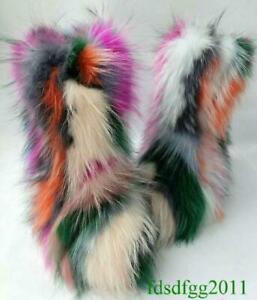 Eskimo Women Big Fluffy Boots Real Fox Fur Luxury Multi Color Shoes Sz