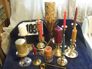 Vintage Large Lot of 12 Quality Brass Candle holders beauty, Baldwin, & snifter