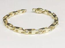 "14k Solid Yellow Gold Handmade Link Men's Chain Bracelet 9.5"" 32 grams 5.5MM"