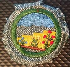 1947 Girl Scout Badge Silver with White Backstitch - Landscaper