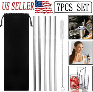 "5 Pcs 10.5""Stainless Steel Metal Drinking Straw Straight Straws+1 Cleaner Brush"