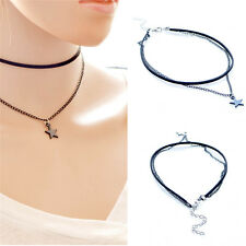 Gothic Retro Vintage Black Velvet Star Charm Pendant Choker Necklace Jewelry