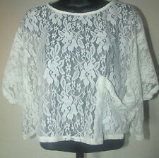 NEW KIRRA SIZE X-SMALL IVORY FLORAL LACE CROPPED LARGE FRONT POCKET BLOUSE TOP