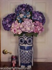 """LG Nearly 15""""T OWL SHAPED Delft Style COBALT BLUE White UMBRELLA STAND VASE FAB!"""