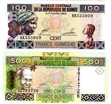 SET SERIE LOT 2 BILLETS Guinee GUINEA BISSAU Francs 100 & 500  NEUFUNC