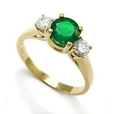 Colombian Emerald and Diamond Three Stone Ring in 14k Gold Sizes 4 to 9.5 R661