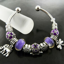 BRACELET BANGLE REAL 925 STERLING SILVER S/F AMETHYST BEAD CUFF CHARM DESIGN