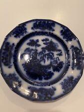 "Antique Flow Blue 10"" Ironstone Dinner Plate"