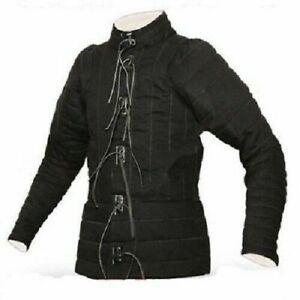 Medieval Gambeson Thick Padded Coat Aketon Jacket Armor Black Cotton Fabrics