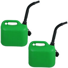 2 x 5L Jerry Can Container Flexible Spout Green 5 Litre Car Petrol Diesel Cans