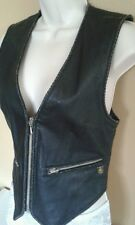 Harley Davidson women's black leather vest size small zip up