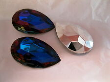 6 vintage west german glass pearshape stones,30x20mm Bermuda Blue