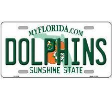 """Miami Dolphins Florida State Background Novelty Metal License Plate 6"""" x 12"""""""