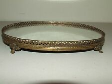 Vintage Footed Mirror Mirrored Vanity Trinket Dish Jewelry Dresser Tray