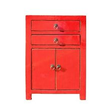 Distressed Red Lacquer Two Drawers End Table Nightstand cs5400