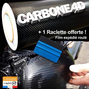 Film Vinyle Carbone 4D Noir 30 cm par 152 cm Covering Thermoformable Tuning Pro