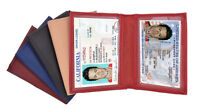 Genuine Leather 2 License Bifold Wallet Card Insert Men's ID Holder MANY COLORS