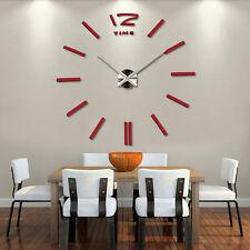 Uhren Wohnzimmer DIY Design Wanduhr Nummer Deko 3D Wandtattoo Aufkleber Rot