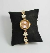 NEW! STACEY WOMEN'S GOLDTONE BRACELET FASHION WATCH (WHITE FLORAL)