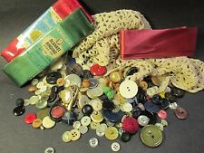 Lot Vintage Haberdashery Buttons Crochet Lace Ribbon Blanket Seam Binding  lot2