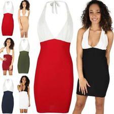 Halter Neck Stretch Mini Dresses for Women