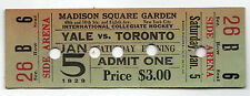 SCARCE 1929 MADISON SQUARE GARDEN College Hockey YALE Toronto TICKET New York NY