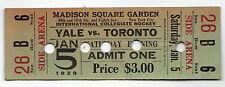 SCARCE 1929 MADISON SQUARE GARDEN College Hockey YALE Toronto TICKET New York NY