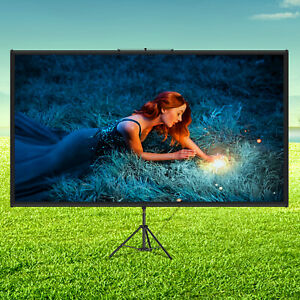 VEVOR Tripod Projector Screen with Stand 70 inch 4K HD 16:9 Home Cinema Portable