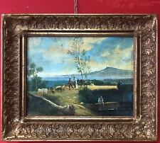 Quadro Antico dipinto olio su tela paesaggio fiammingo bucolico italiano