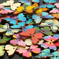 50pcs 2 Holes Mixed Butterfly Shape Wooden Sewing Mend Scrapbooking DIY Buttons