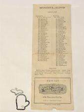 1942 Minnesota Gophers @ Illinois WILDUNG Orig Football Program Lineup Card FR+