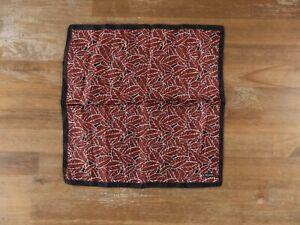 Z ZEGNA black and red leaf motif silk pocket square authentic