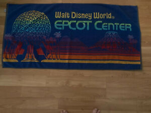FREE SHIPPING USED REAL NICE EPCOT CENTER LOGO TOWEL APP 24X48 INCH