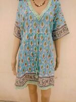 Indian Cotton Kaftan Suit Maxi Kimono Short CoverUp Hand Block Print Beach Kurta