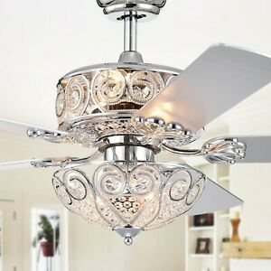 Warehouse Of Tiffany 5-Blade 52-Inch Crystal Ceiling Fan CFL-8370REMO/CH *NEW*
