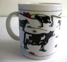 "EUC WHITE STONEWARE ""COWS IN THE FIELD DESIGN"" BY HOUSTON FOODS 8 OZ."