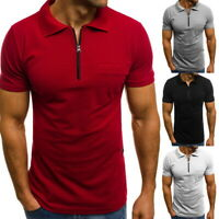 Mens Summer T-Shirts Short Sleeve Half-Zip Basic Tee Casual Slim Lapel Pullovers