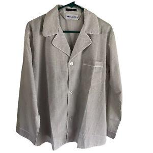 VTG Weldon Men's Pajama Set Size Medium White With Gray Checks Long Sleeves