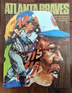 Vintage 1974 Atlanta Braves Illustrated Yearbook Hank Aaron Babe Ruth 715 Mint