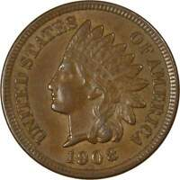 1908 1c Indian Head Cent Penny US Coin AU About Uncirculated